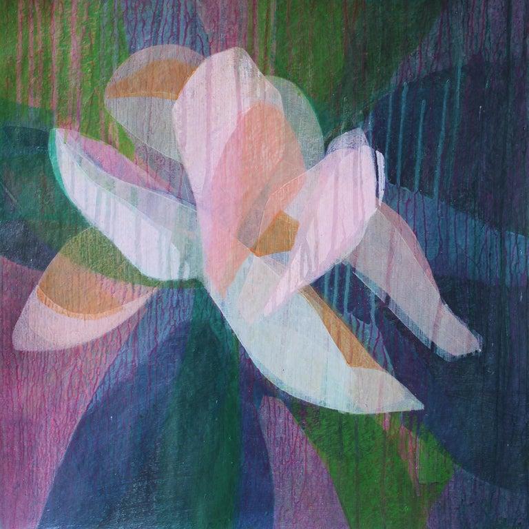 "Katherine Sandoz Abstract Painting - ""(Magnolia II) Sand Stone""  - Colorful Abstract Botanical Painting Frankenthaler"