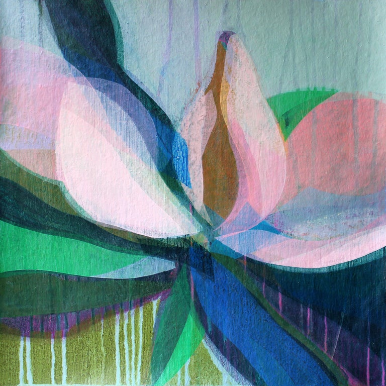 "Katherine Sandoz Landscape Painting - ""(Magnolia II) Sky Blue"" - Colorful Abstract Botanical Painting - Frankenthaler"