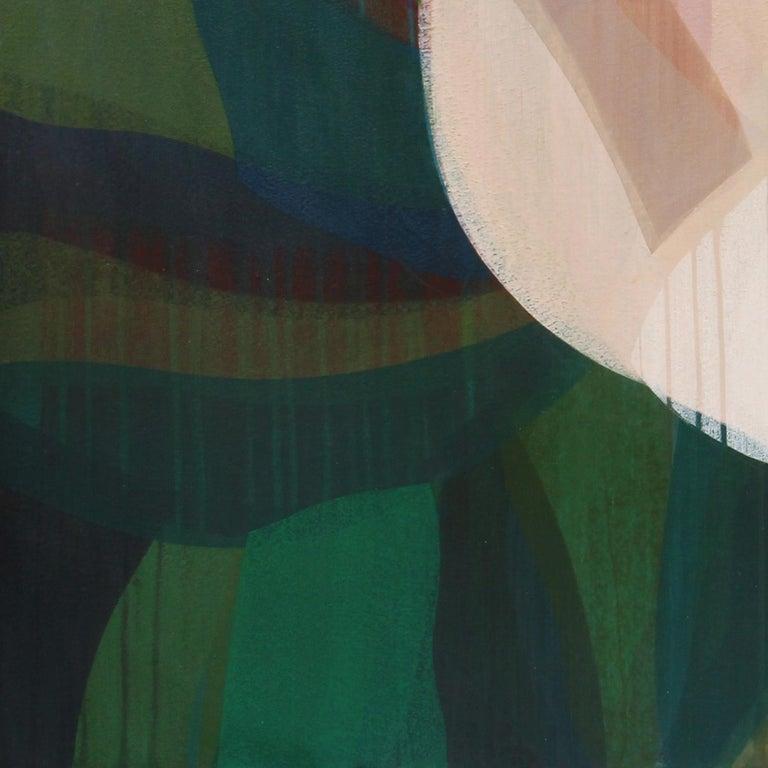 (Magnolia) Maroon Navy - Painting by Katherine Sandoz