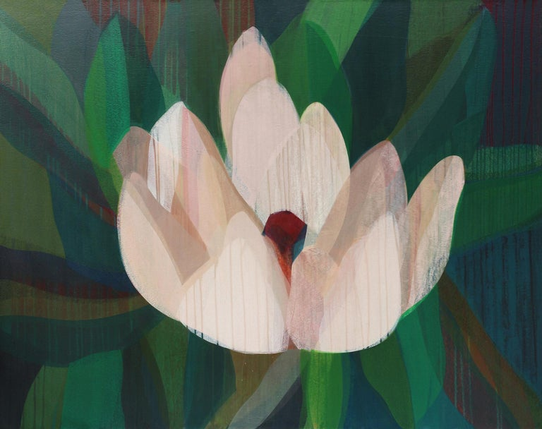 Katherine Sandoz Abstract Painting - (Magnolia) Maroon Navy