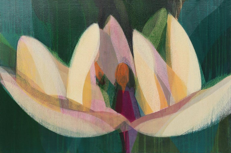 Katherine Sandoz Abstract Painting - (Magnolia) Orange Bronze