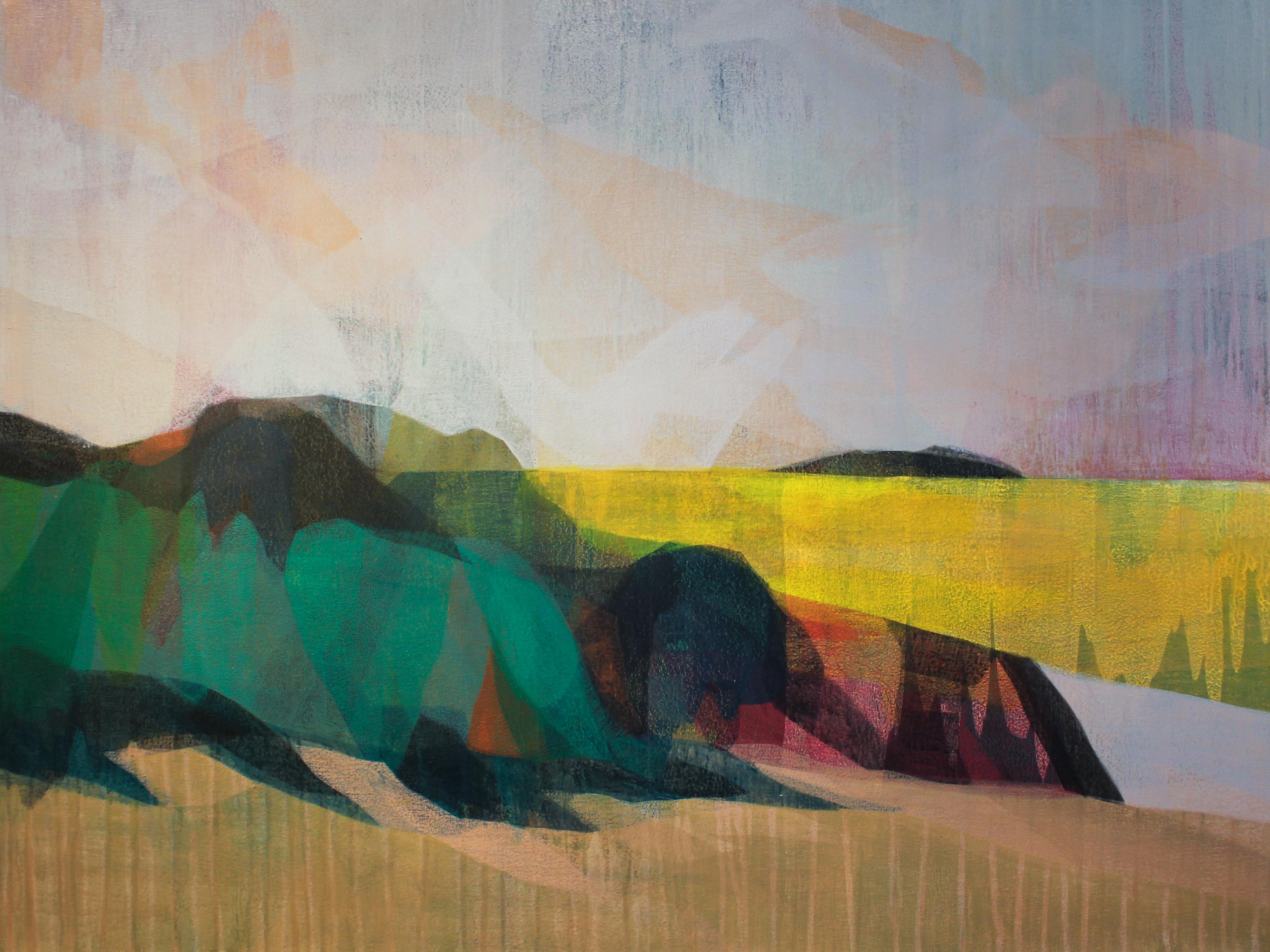 """""""(sequoia) back river yellow"""" - colorful abstract landscape - marsh - Diebenkorn"""