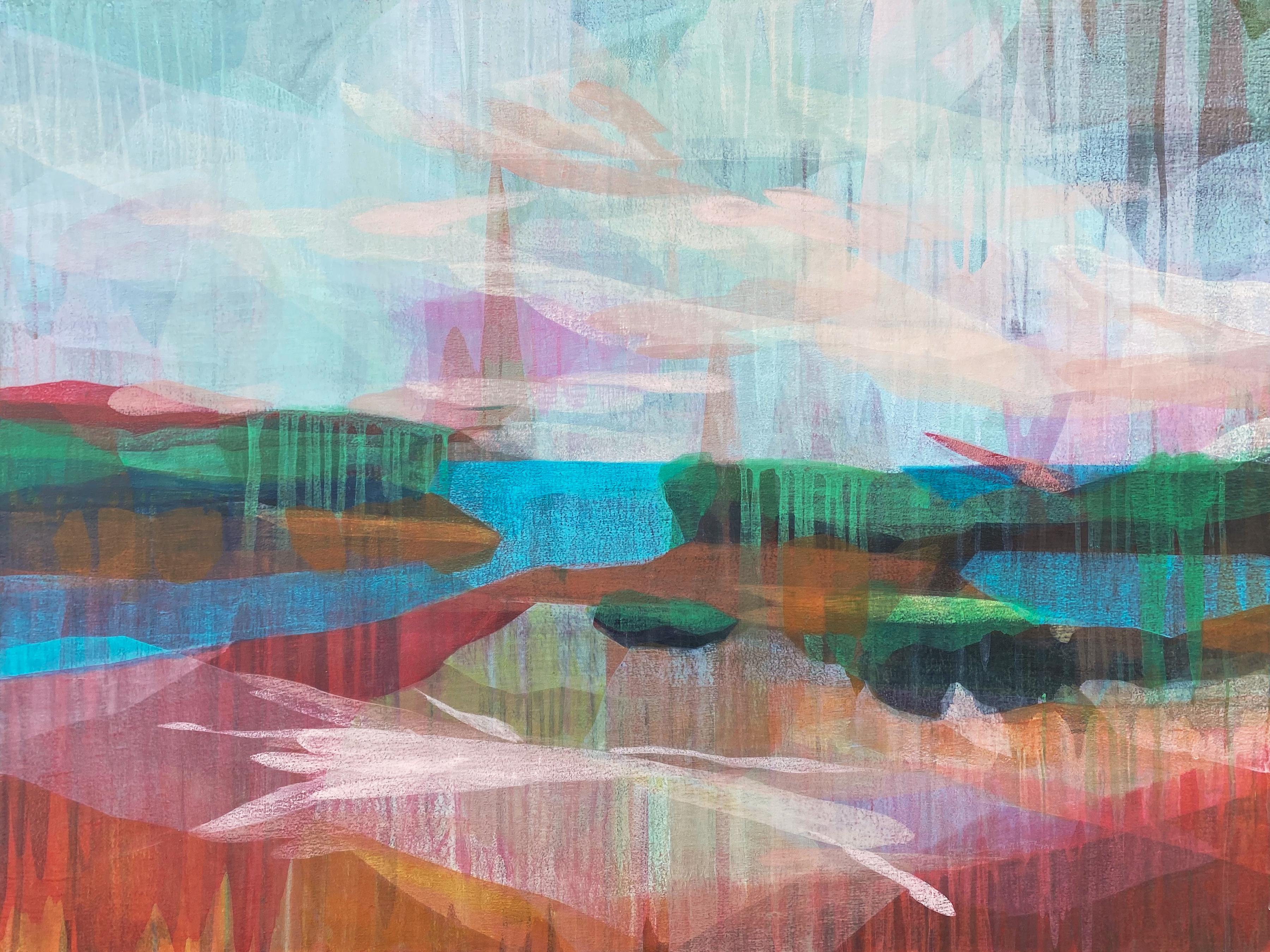 """(sequoia) double marsh"" - colorful abstract landscape - marsh - Diebenkorn"