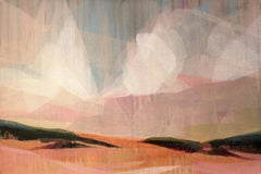 """(sequoia) surfers' clouds pink"" - abstract landscape - marsh - Diebenkorn"