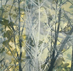 Forest Evening - Relief Monotype Branches in Blues