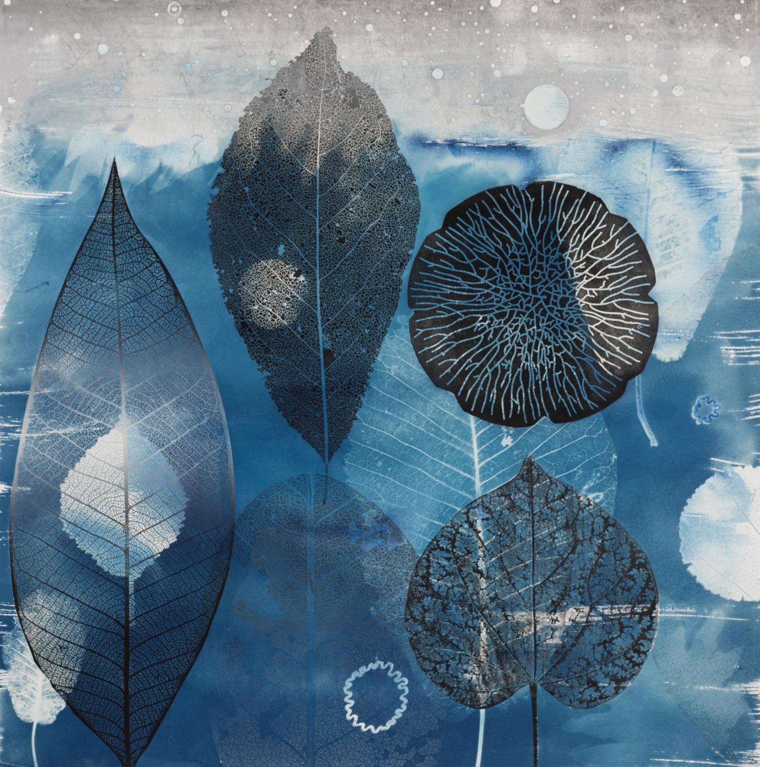 Leaf Ocean - Leaves in Blue Ocean Large Cyanotype Woodcut Monotype