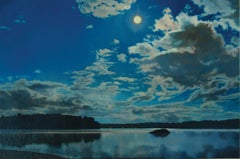 Moon and Clouds, Landscape Oil Painting on Linen