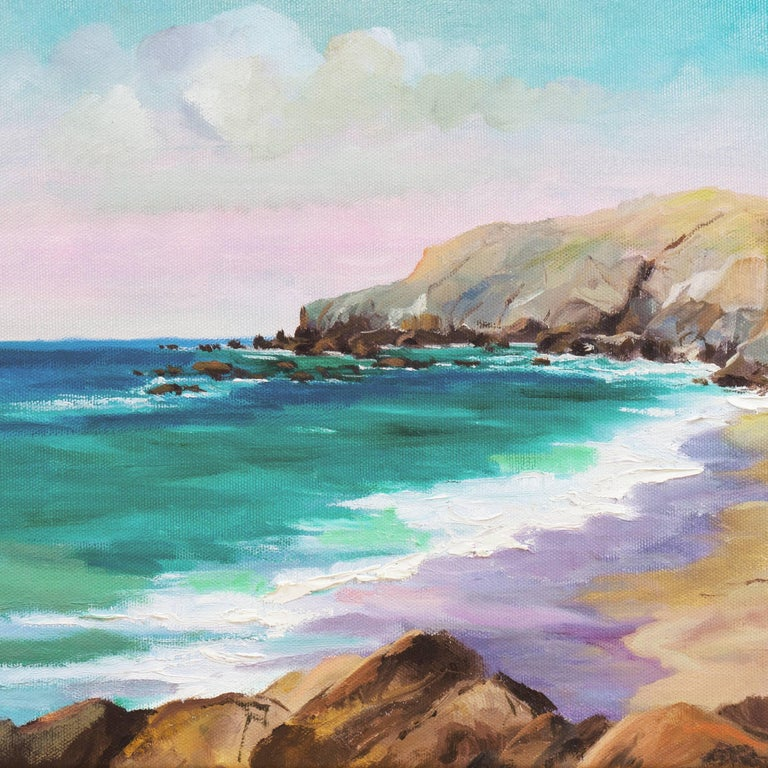 Big Sur Coast - Gray Landscape Painting by Kathleen Murray
