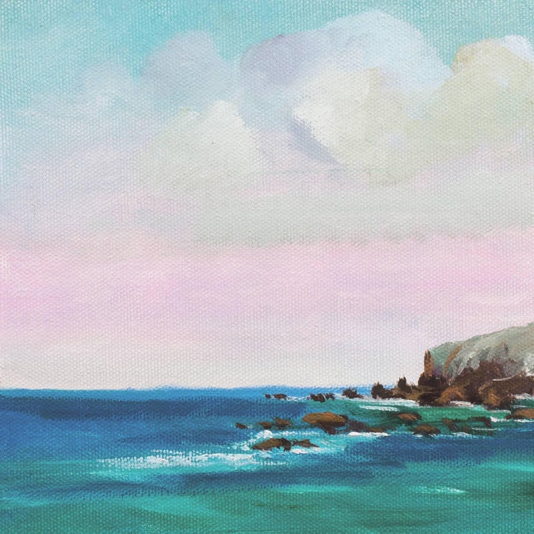 Signed lower right, 'Murray' and painted circa 2015.  A panoramic view of a hidden cove south of Carmel, California, with turquoise waters rolling in and the delicate sunset hues transforming the wet sand to lavender.  Born in Los Angeles, this
