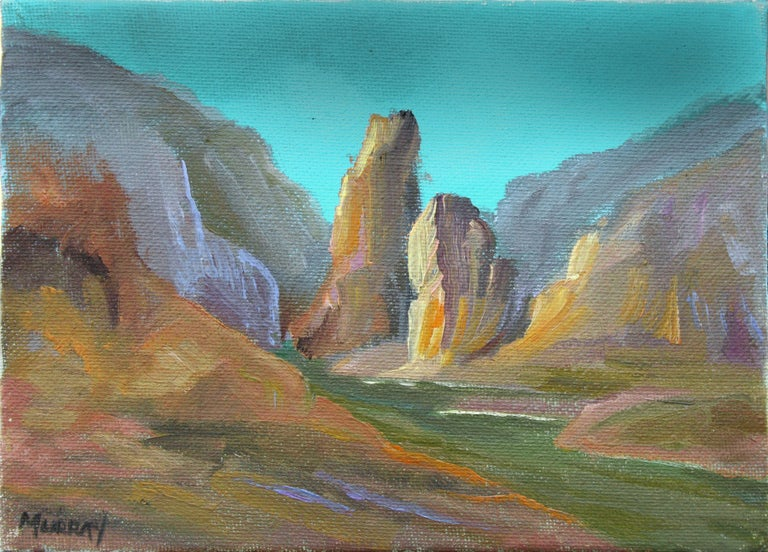 """Vivid diminutive oil painting of the Grand Canyon by Kathleen Murray (American, b.1958). Signed in the lower left corner. Unframed. Image size: 5""""H x 7 """"W   Kathleen Murray (American, b. 1958) was born in Los Angeles, California. In the early 1970s,"""