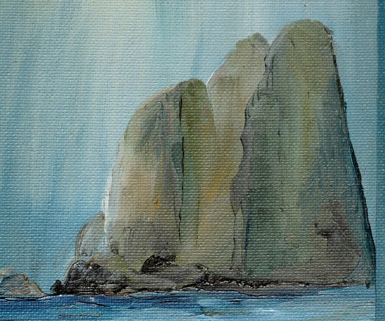 Three Large Cliffs in the Sea - American Impressionist Painting by Kathleen Murray