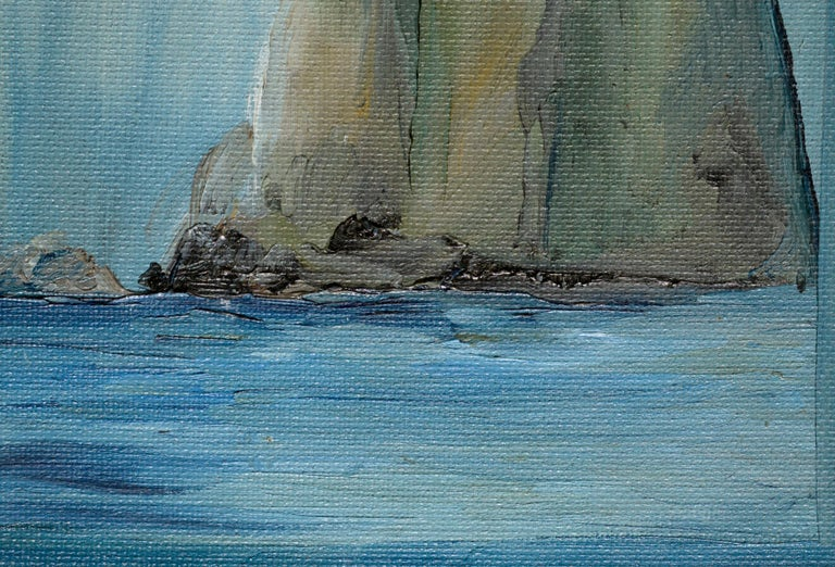 Three Large Cliffs in the Sea - Gray Landscape Painting by Kathleen Murray