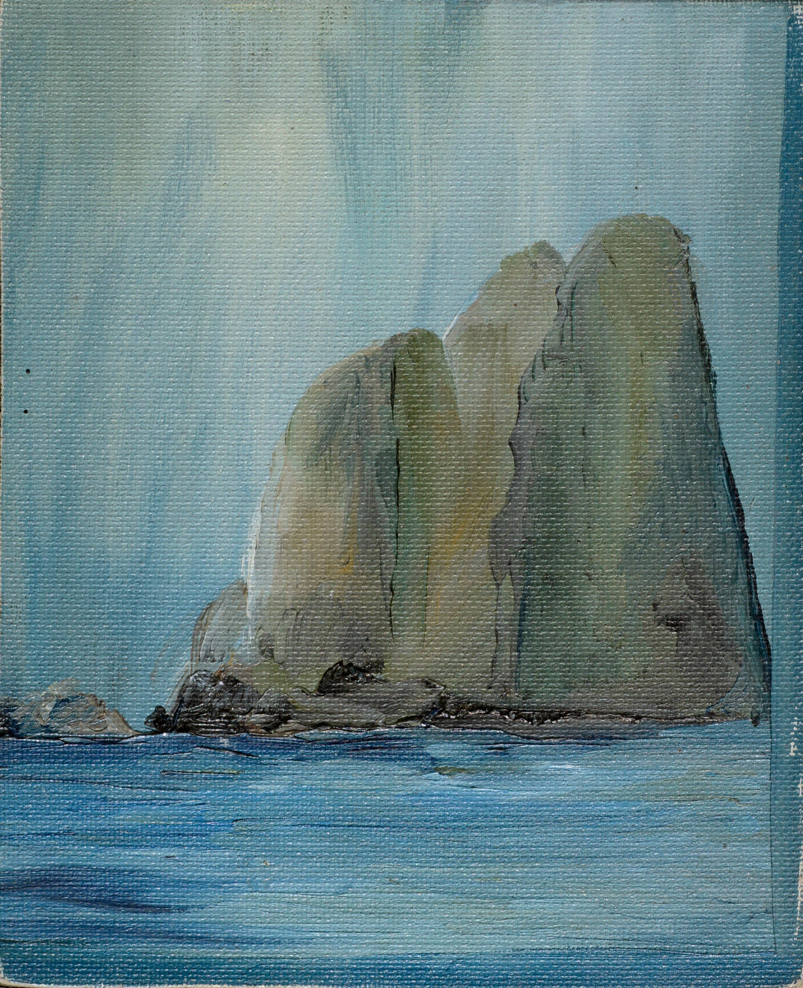 Three Large Cliffs in the Sea