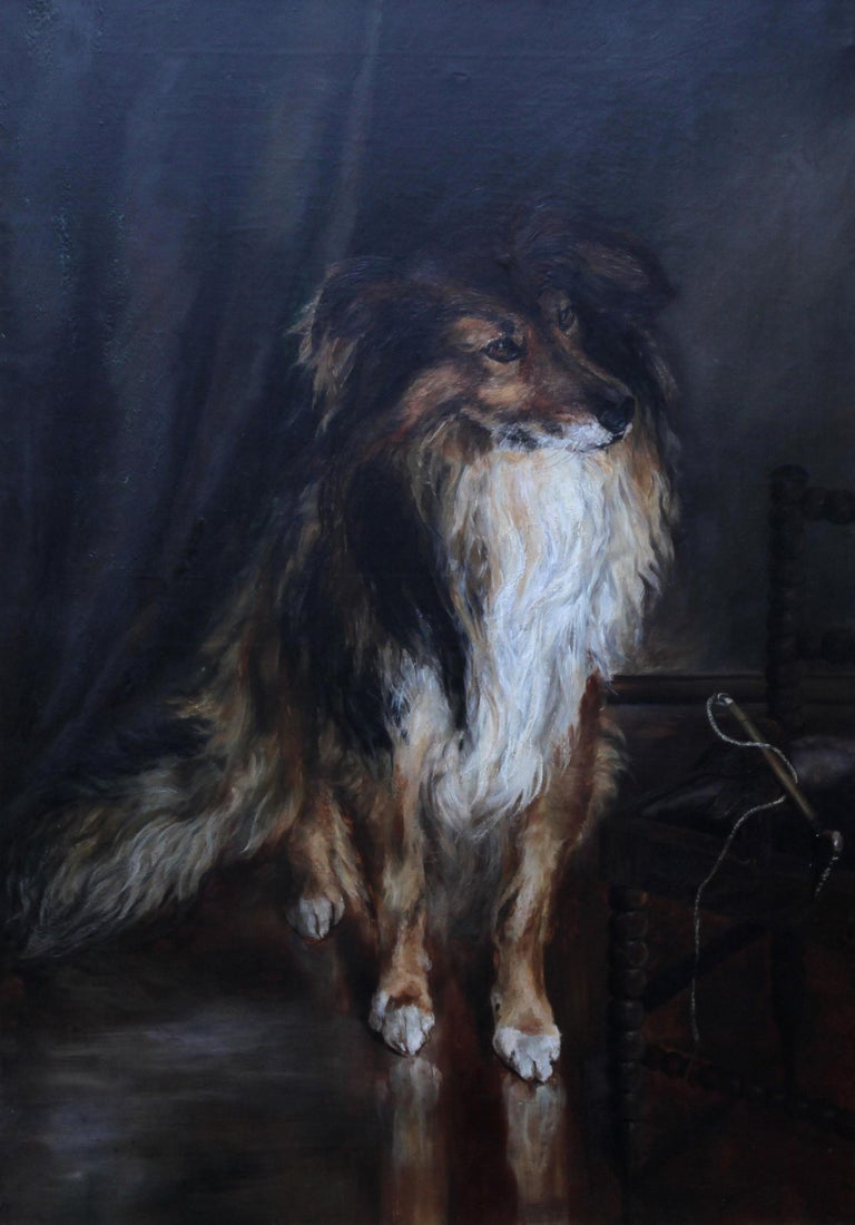 Portrait of a Collie - British Victorian realist dog oil painting female artist For Sale 9