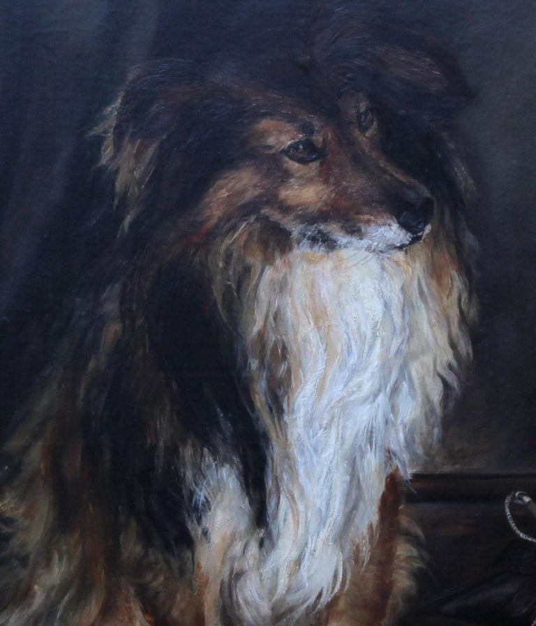 Portrait of a Collie - British Victorian realist dog oil painting female artist For Sale 3