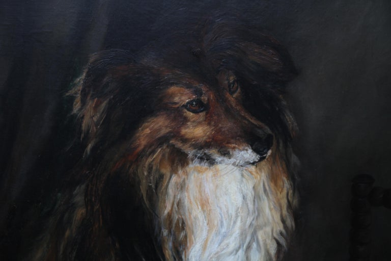 Portrait of a Collie - British Victorian realist dog oil painting female artist For Sale 4