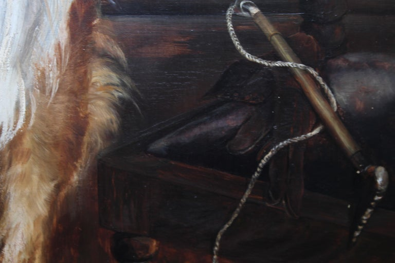 Portrait of a Collie - British Victorian realist dog oil painting female artist For Sale 6