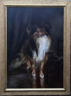 Portrait of a Collie - British Victorian realist dog oil painting female artist