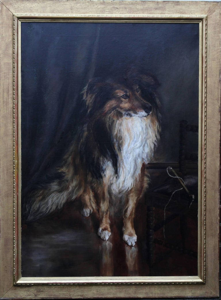A fine large full-length portrait of a Lassie Border Collie dog which was painted in the late 19th century by Kathleen Olander.  A stunning dog portrait of a Collie waiting for the master to return to their chair. It is a fine Victorian British