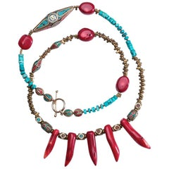 Kathmandu Coral and Turquoise Om and Nepalese Beaded Necklace