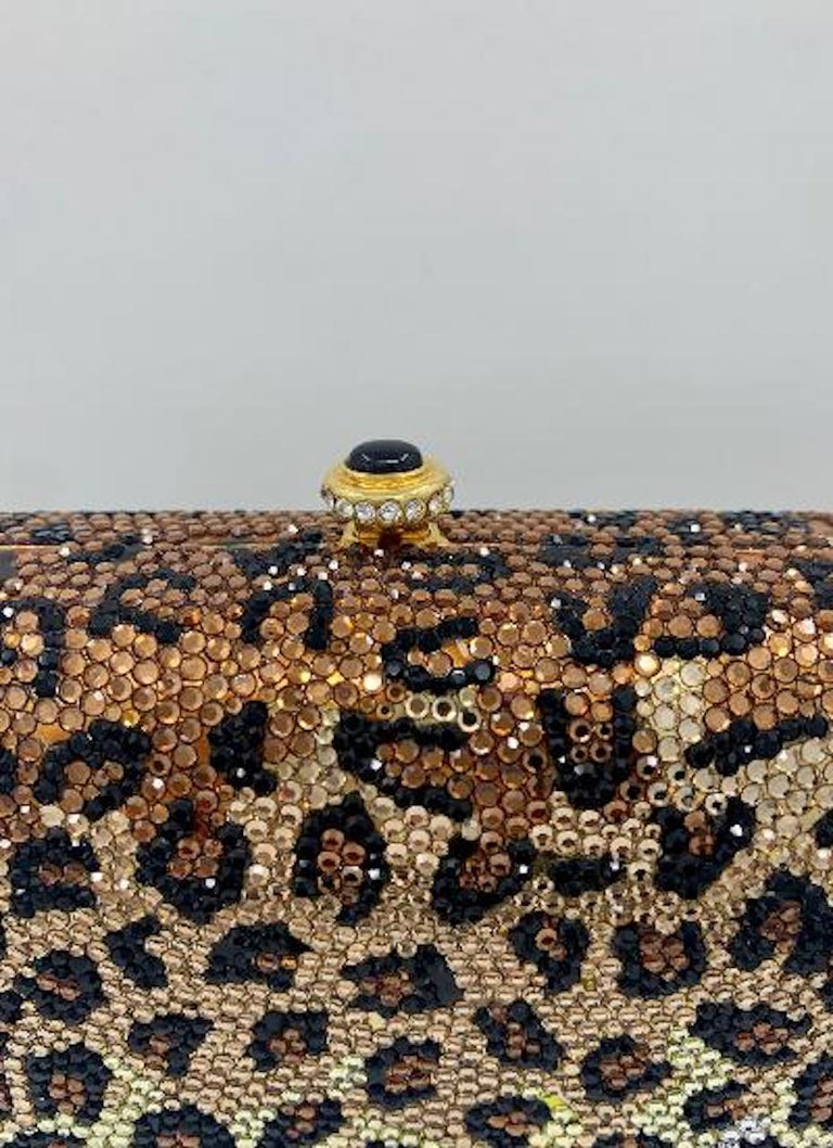 Kathrine Baumann Leopard Design Swarovski Crystal Minaudiere Evening Bag For Sale 7