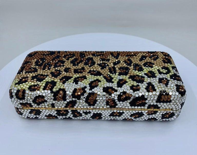 Kathrine Baumann Leopard Design Swarovski Crystal Minaudiere Evening Bag For Sale 9