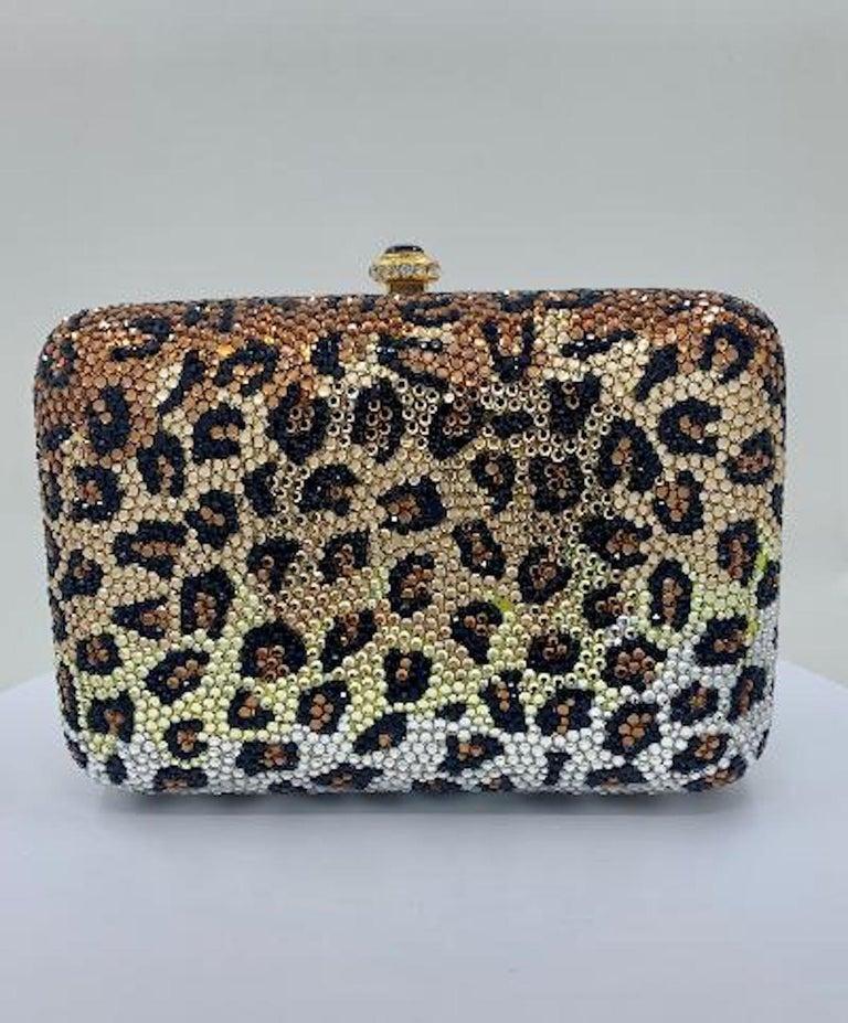 Black Kathrine Baumann Leopard Design Swarovski Crystal Minaudiere Evening Bag For Sale