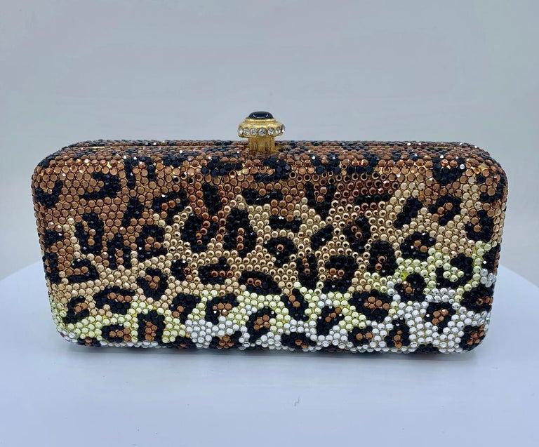 Women's Kathrine Baumann Leopard Design Swarovski Crystal Minaudiere Evening Bag For Sale