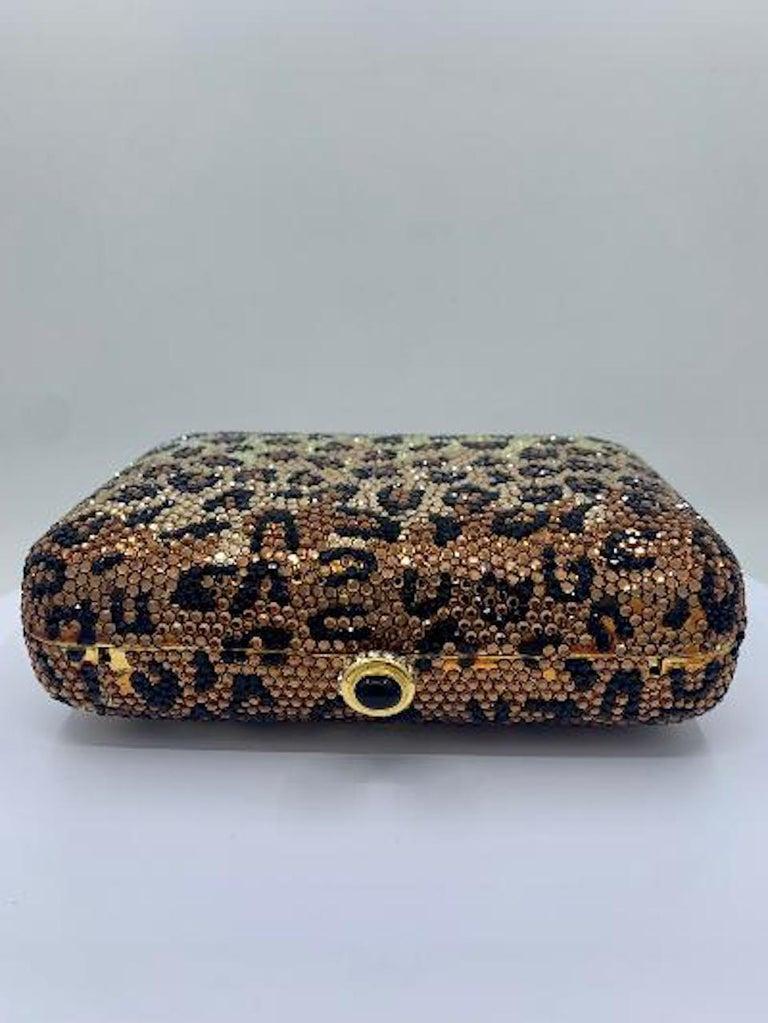 Kathrine Baumann Leopard Design Swarovski Crystal Minaudiere Evening Bag In Good Condition For Sale In Tustin, CA
