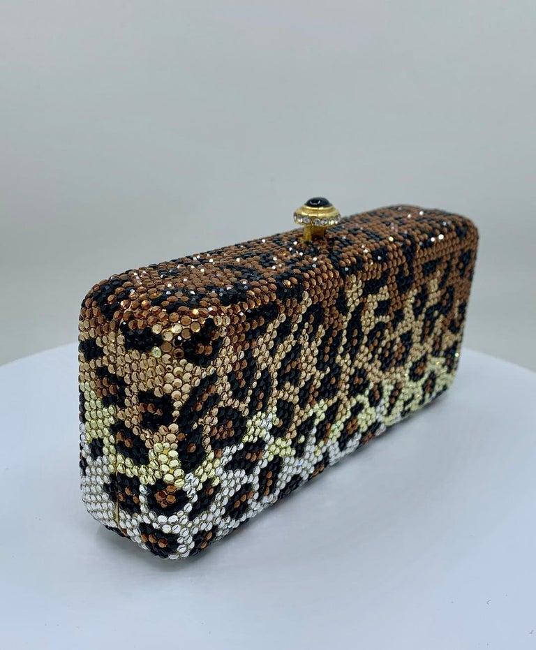 Kathrine Baumann Leopard Design Swarovski Crystal Minaudiere Evening Bag For Sale 1