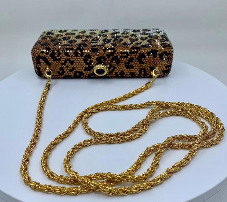 Kathrine Baumann Leopard Design Swarovski Crystal Minaudiere Evening Bag For Sale 2