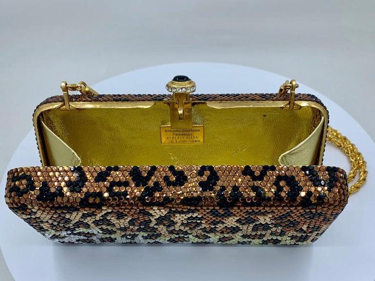 Kathrine Baumann Leopard Design Swarovski Crystal Minaudiere Evening Bag For Sale 3