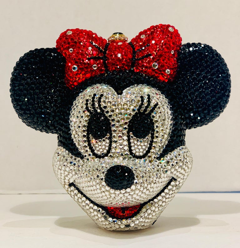 An exquisite, handmade, Swarovski crystal encrusted, gold-plated metal Disney (Trademarked) Minnie Mouse head shaped minaudière evening bag purse by Kathrine Baumann, who is the celebrated handbag maker to the stars.   Features a silver metal rope