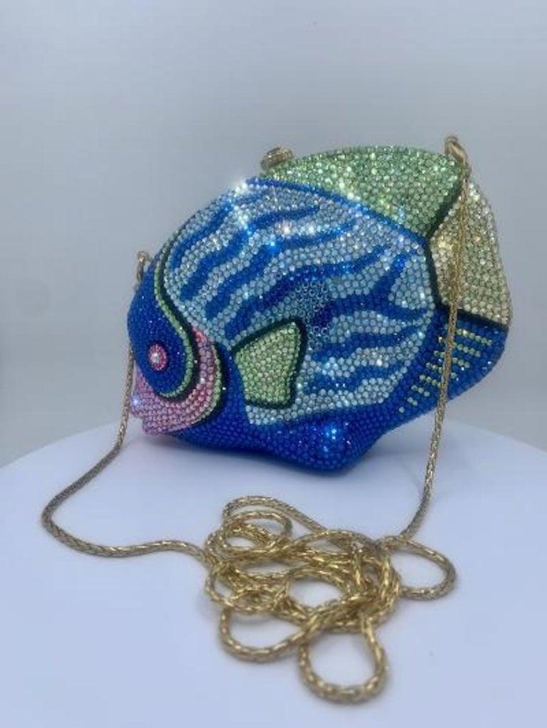 Kathrine Baumann Tropical Fish Swarovski Crystal Minaudiere Evening Bag For Sale 9