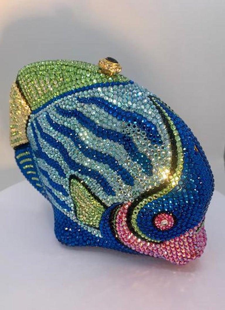Women's Kathrine Baumann Tropical Fish Swarovski Crystal Minaudiere Evening Bag For Sale