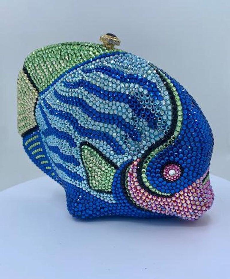 Kathrine Baumann Tropical Fish Swarovski Crystal Minaudiere Evening Bag For Sale 1