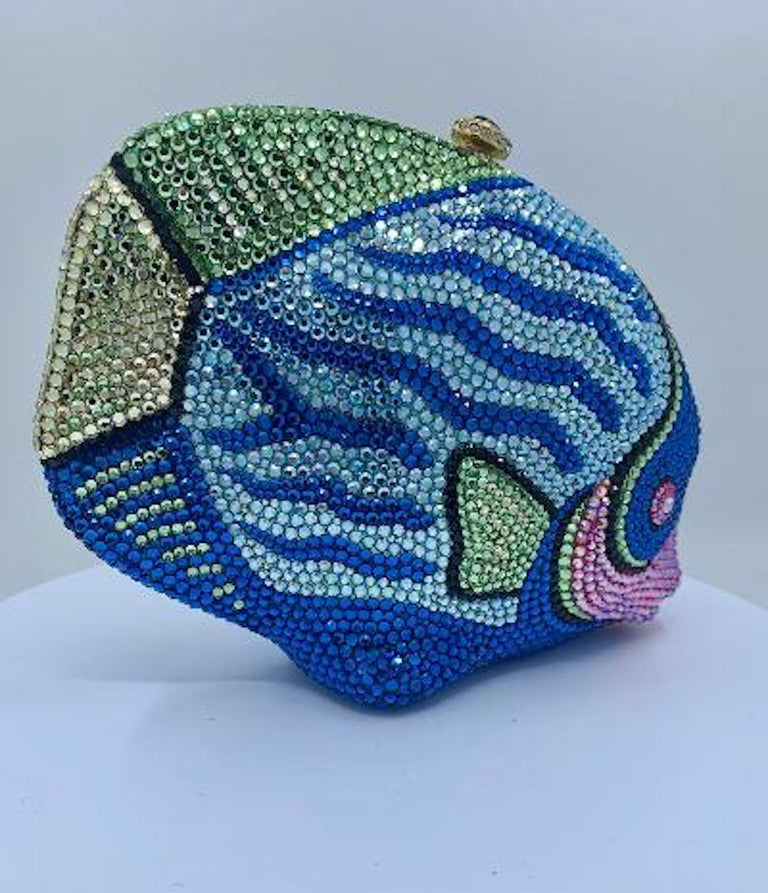 Kathrine Baumann Tropical Fish Swarovski Crystal Minaudiere Evening Bag For Sale 2