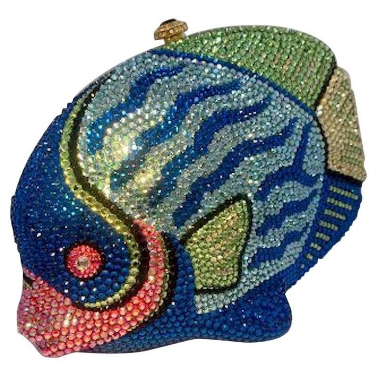 Kathrine Baumann Tropical Fish Swarovski Crystal Minaudiere Evening Bag For Sale