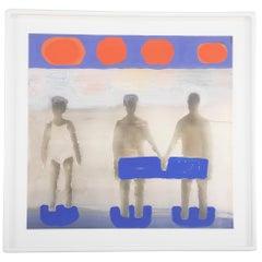 """Kathrine Bradford, """"Seaside 1 woman 2 men"""" Unique Gouache Over Archival Pigment"""