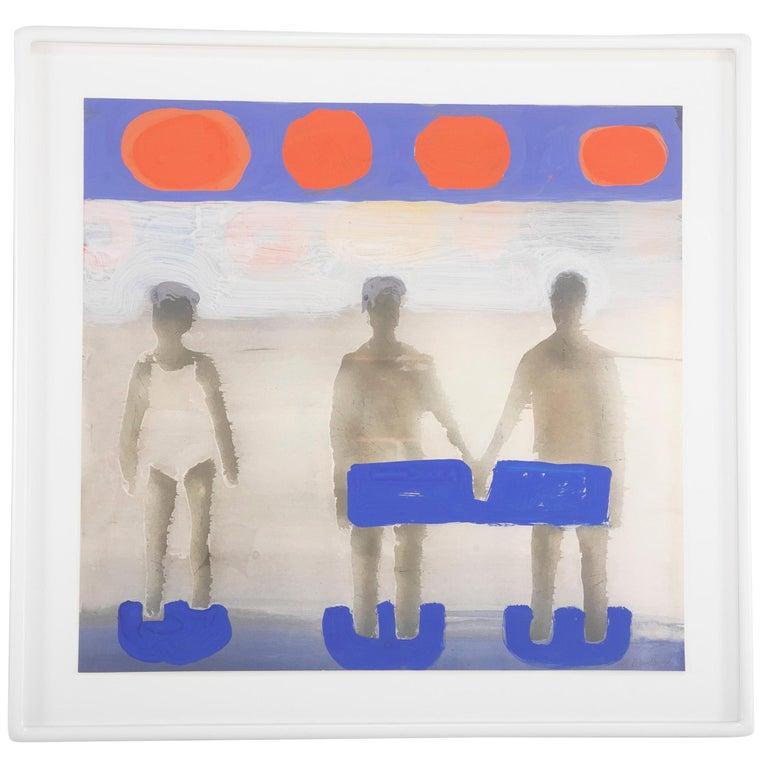 """Kathrine Bradford, """"Seaside 1 woman 2 men"""" Unique Gouache Over Archival Pigment For Sale"""