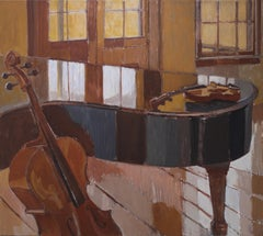 """Studio 4-13-19"" oil paint of canvas, interior, piano, by Kathryn Keller"