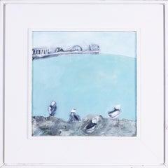 20th Century British school oil painting of seagulls near Brighton pier