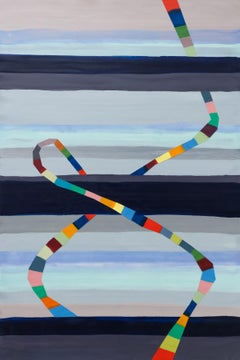 Ascending, multicolored striped encaustic geometric abstract painting, 2019