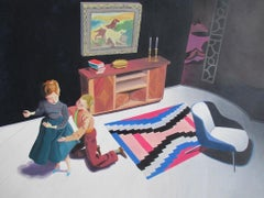 Clutching her Skirt, figurative painting of two people, 1950s living room