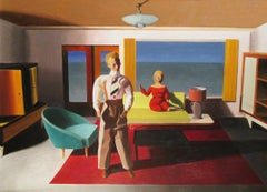 Facing Away, figurative painting of couple, 1950s office, oil on paper