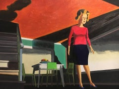 From Underneath, figurative painting of woman in 1950s dining room