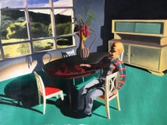 Man Sitting Sideways, small figurative oil painting, green 1950s dining room
