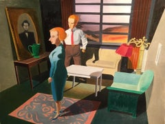 Man's Fist, figurative painting of couple in 1950s interior