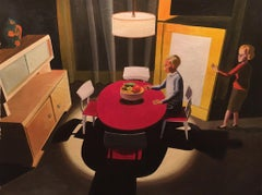 Red Table, figurative painting of couple in 1950s interior
