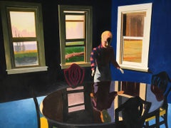 Reflection in Table, figurative painting of man's reflection, 1950s dining room